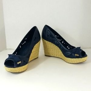 Sold KELLY AND KATIE BLUE EMROIDERED WEDGES,